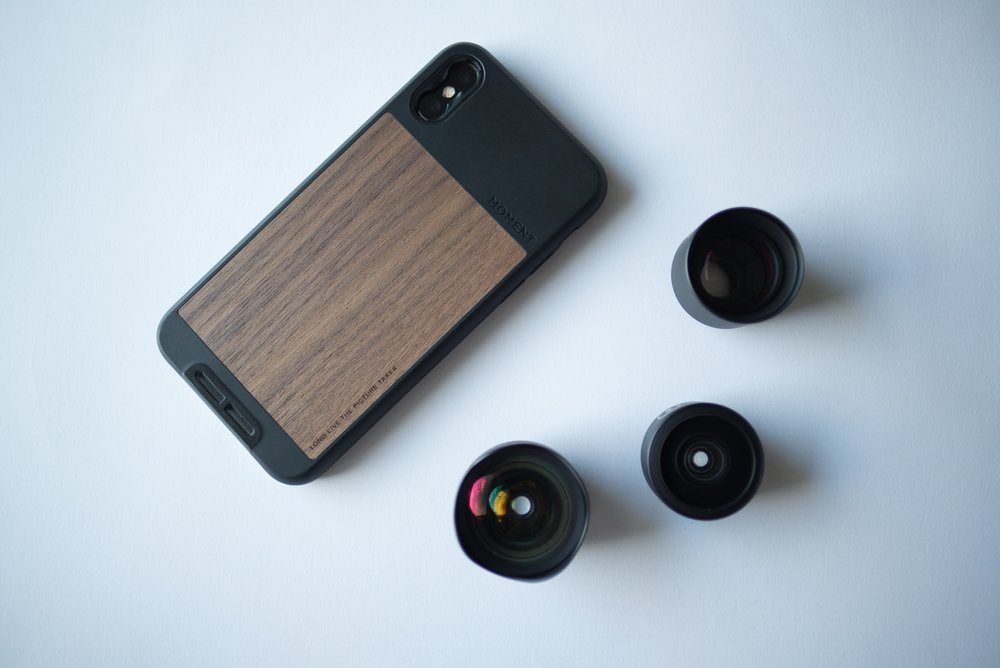 Clockwise from top-left: iPhone X Photo Case, Tele 60mm Lens, Superfish Lens, Wide 18mm Lens