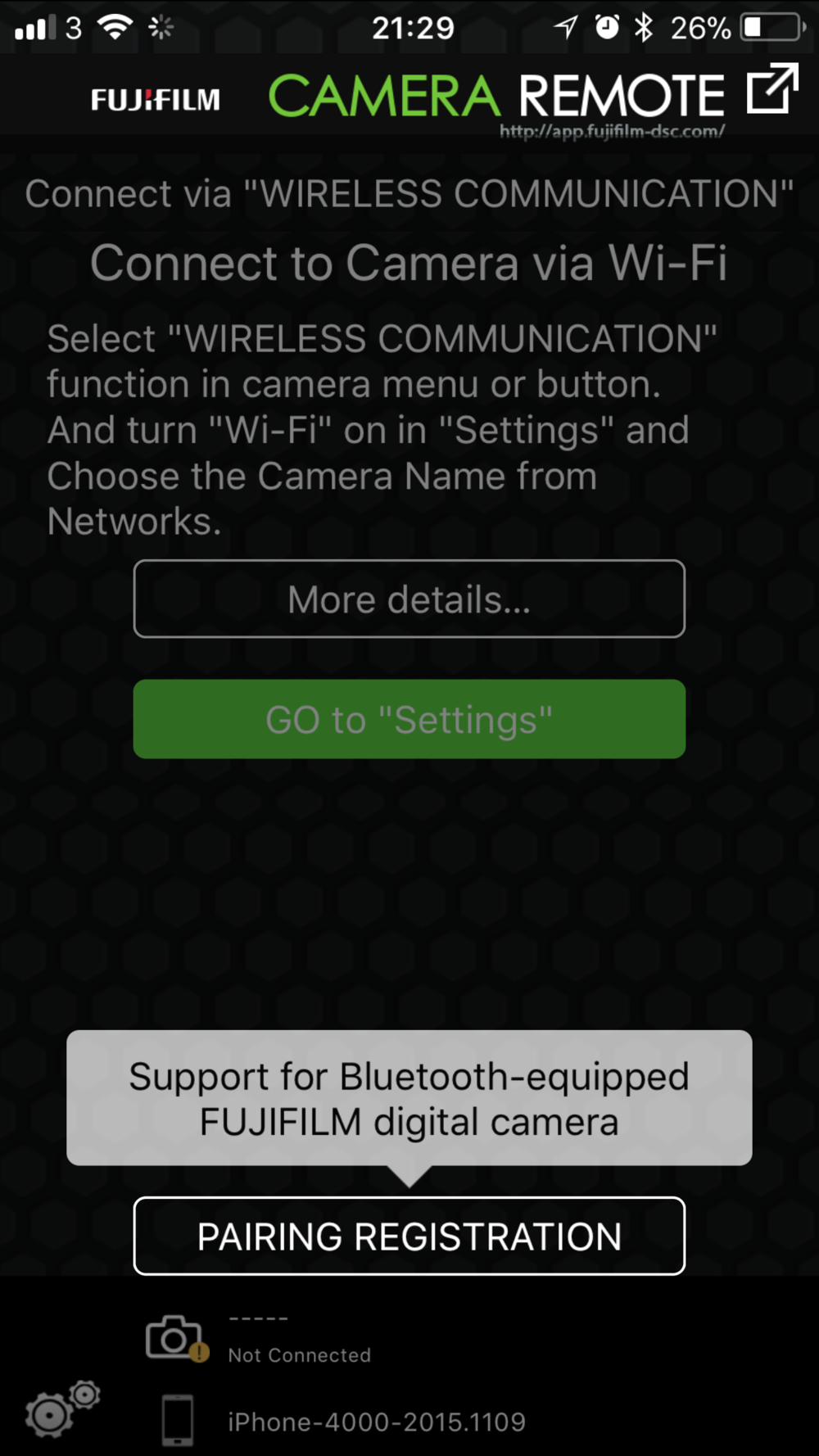 The new Camera Remote app lets you know it supports bluetooth too